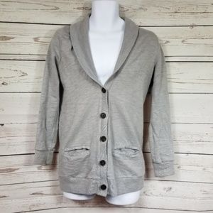 J CREW Rumpled French Terry button up cardigan S